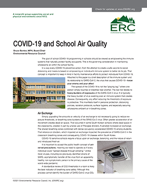 COVID 19 and School Air Quality